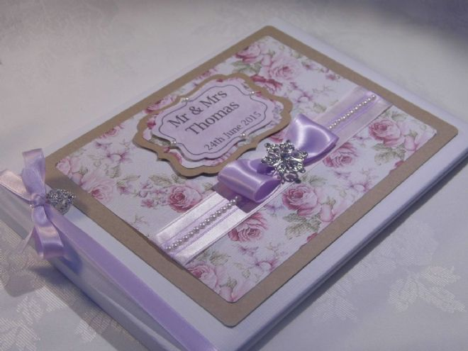 Personalised Wedding Guest book - Vintage Lilac Rose